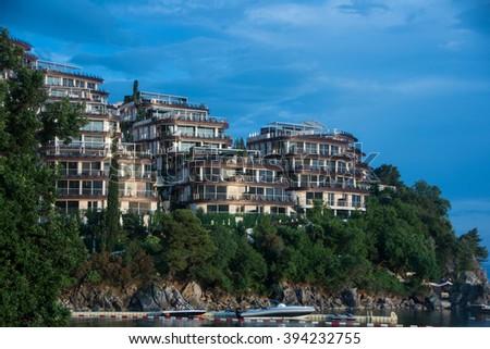 BUDVA, MONTENEGRO - JUNE 05, 2015: Dukley Gardens - luxury complex of hotels on Budva town, near sea - stock photo