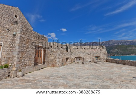 BUDVA, MONTENEGRO - MARCH 09, 2016: Inside the Citadel (Castel St Mary) of Old Town of Budva, Montenegro. The fortress was mentioned for the first time in ancient chronicles in 1425