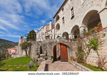 BUDVA, MONTENEGRO - MARCH 09, 2016: Podostrog (or Podmaine) Monastery in Budva, Montenegro. Founded in 15th c. by Crnojevic noble family
