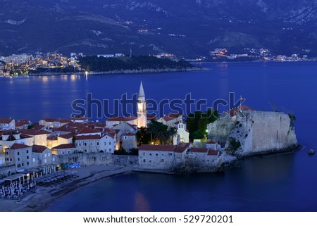 Budva old  town castle, night scene, Montenegro, Europe