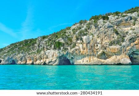 Bue Marino cave entrance in Sardinia, Italy - stock photo