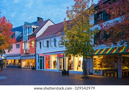 BUEHL, GERMANY - OCTOBER 10, 2009: The pedestrian zone in Buehl in the evening, Black Forest, Baden-Wurttemberg, Germany, Europe
