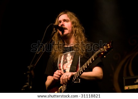 BUENOS AIRES - APRIL 3:  Opeth lead voice singer and guitarist Mikael Akerfeldt performs onstage at THE END Theater April 3, 2009 in Buenos Aires, Argentina.