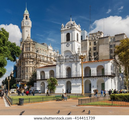 BUENOS AIRES, ARGENTINA - APRIL 28: view of Cabildo - public building former  seat of the ayuntamiento during the colonial times in Buenos Aires, Argentina on April 28, 2016. Now it is a museum. - stock photo