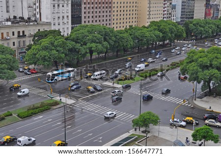 BUENOS AIRES, ARGENTINA - JAN 19: 9 de Julio Avenue on Jan 19, 2011, in Buenos Aires. 9 de Julio Avenue is the widest avenue in the world. Its name honors Argentina's Independence Day, July 9, 1816.