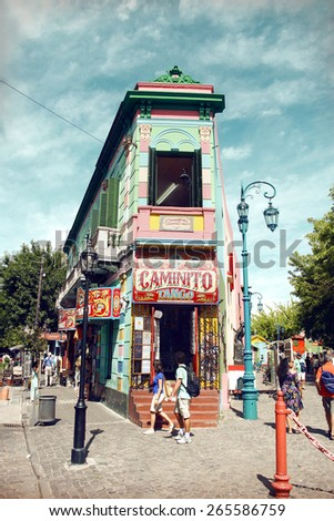 Buenos Aires, Argentina - January 21, 2008: La Boca is the oldest most colourful district in Buenos Aires and a popular destination for tourists.  - stock photo