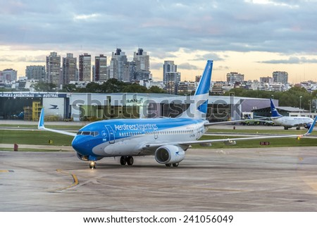 BUENOS AIRES, ARGENTINA - MAR 17: Aerolineas Argentinas plane taxiing at Jorge Newbery Airport on Mar 17, 2013 in Buenos Aires, Argentina. - stock photo