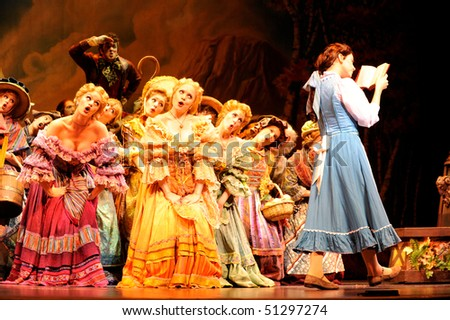 BUENOS AIRES, ARGENTINA - MARCH 26: Opening of Disney Musical The Beauty and the Beast in Opera Theater. March 26, 2010 in Buenos Aires, Argentina - stock photo