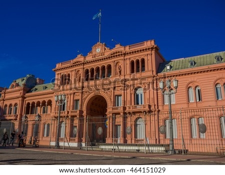 BUENOS AIRES, ARGENTINA - MAY 02, 2016: casa rosada, pink house, is the place where the president of argentina works and it is located in plaza de mayo.