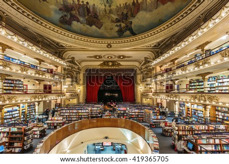 BUENOS AIRES, ARGENTINA - MAY 4: interior of El Ateneo Grand Splendid, the second most beautiful bookshop in the world according to The Guardian, located in Buenos Aires, Argentina on May 4, 2016.