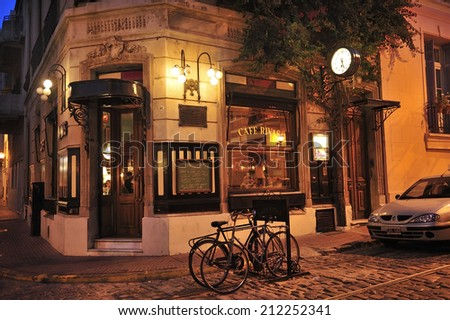Buenos Aires, Argentina, - May. 6 . 2012: Old cafe at San Telmo, historical neighborhood of Buenos Aires - stock photo