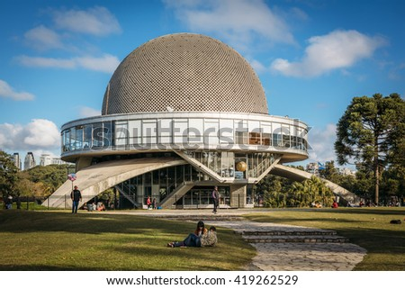 BUENOS AIRES, ARGENTINA - MAY 7: view of Galileo Galilei planetarium, commonly known as Planetario, located in Parque Tres de Febrero in the Palermo district of Buenos Aires, Argentina on May 7, 2016.