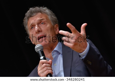 BUENOS AIRES, ARGENTINA - NOV 10, 2015: Mauricio Macri, presidential candidate for Cambiemos speaks during a press conference with foreign media at Buenos Aires Government House. - stock photo