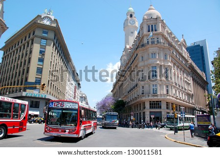 BUENOS - AIRES - ARGENTINA, NOVEMBER 27: Famous and nice 19th - century historic European building of downtown Buenos Aires, Argentina., South America on November 27 2011