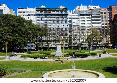 BUENOS AIRES, ARGENTINA- OCTOBER, 06, 2013:Plaza Vicente Lopez Buenos Aires Argentina. Place of public entertainment with trees and gardens amidst - stock photo