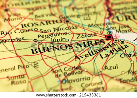 Buenos Aires, Argentina on atlas world map - stock photo