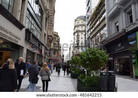 Buenos Aires Argentina - September 19 2016 - Av. Florida, most developed street in Argentina