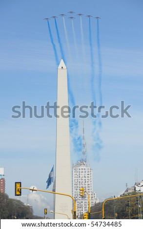 BUENOS AIRES, ARGENTINA - SEPTEMBER 15: Patrouille de France formation flight. September 15, 2009 in Buenos Aires, Argentina