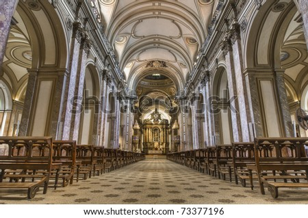 Buenos Aires Cathedral main building interior - stock photo