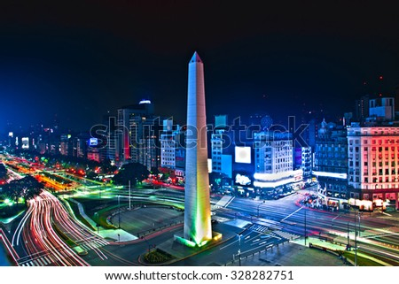Buenos-Aires city Night high difinition - stock photo