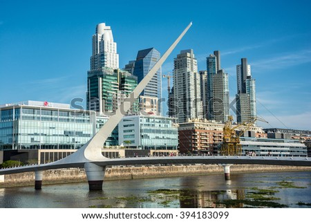 Buenos Aires - January 24, 2016: View of Puerto Madero, Argentina on January 24, 2016. - stock photo