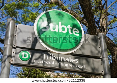 Buenos Aires' metro entrance. - stock photo