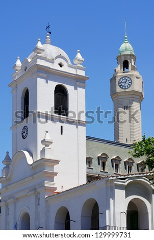 Buenos Aires Metropolitan Cathedral, with its neo-Renaissance architecture, is the most important Catholic Church in Argentina. - stock photo