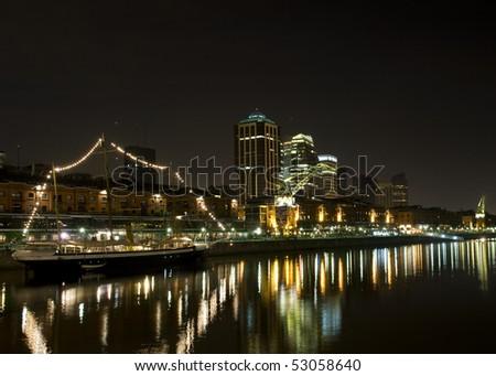 Buenos Aires Skyline, Argentina. Puerto Madero neighborhood at Night. - stock photo