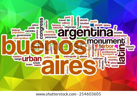Buenos Aires word cloud concept with abstract background - stock photo