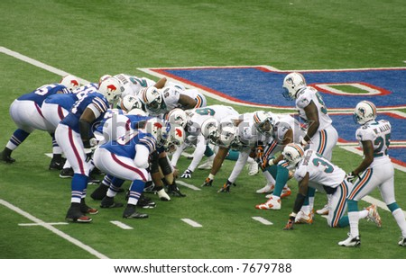 Buffalo Bills prepare for a touchdown attack against Miami Dolphins in a football game, Ralph Wilson Stadium, December 9, 2007 - stock photo