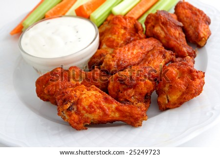 Buffalo chicken wing appetizer plate - stock photo