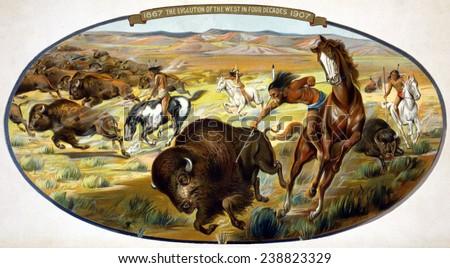 Buffalo hunt. Chromolithograph ca. 1906 - stock photo