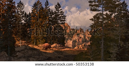 Buffalo In The Rocky Mountains - stock photo