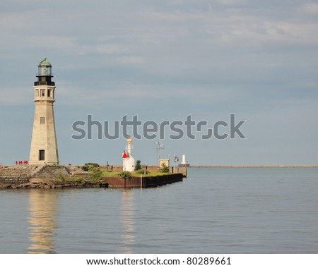 Buffalo Main Lighthouse, This tower is located directly across from the Erie Basin Marina, underneath the Skyway in downtown Buffalo.