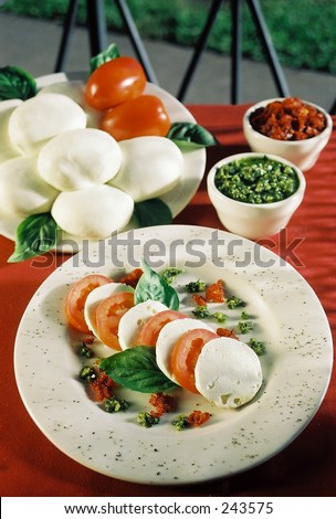 Buffalo Mozzarella with Tomatoes and Basil - stock photo