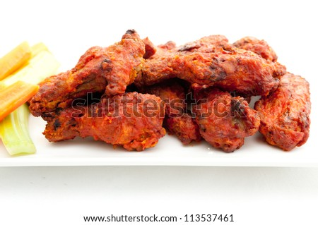 buffalo style spicy hot chicken wings