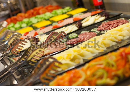 Buffet - a series of restaurant food photo images - stock photo