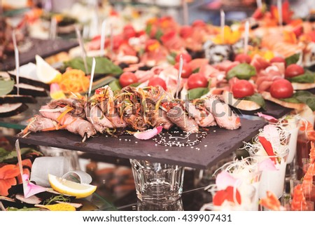 Buffet Brunch Food Eating Festive Cafe Dining Concept - stock photo