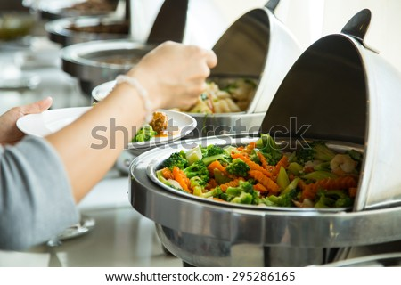 Buffet food ,customer used lunch in  luxury restaurant - stock photo