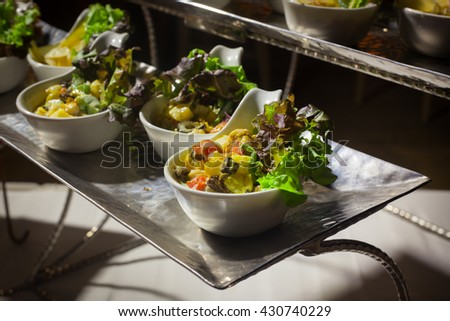Buffet line in Wedding party dinner  on beach,Thailand - stock photo
