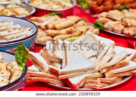 Buffet of middle eastern food at a party - stock photo