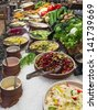 buffet salad bar in a luxury hotel restaurant - stock photo