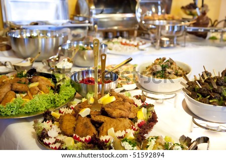Buffet table at a dinner party - stock photo