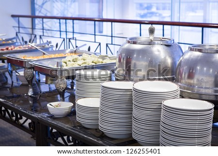 Buffet Table with dishware