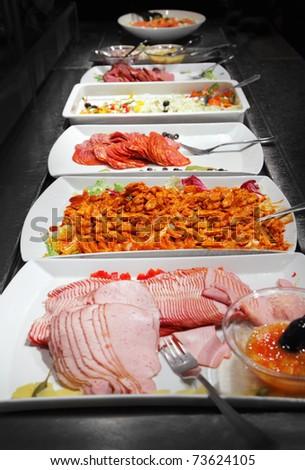 Buffet trays - stock photo