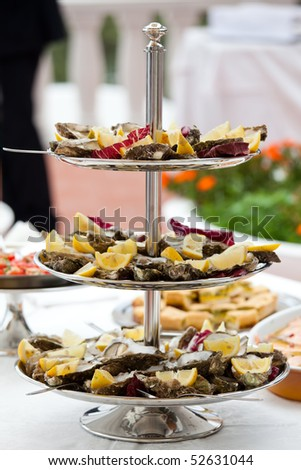 Buffet with oysters