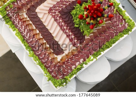 Buffet with special made decorations of food  - stock photo