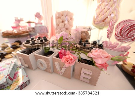 buffet with sweets and cakes - stock photo