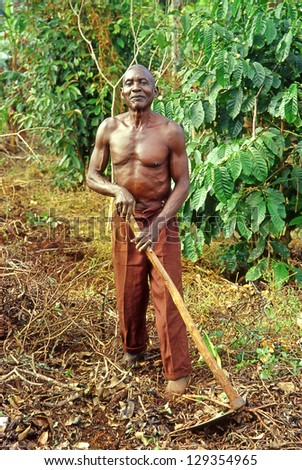 BUIKWE REGION, UGANDA - JULY 26: An unidentified farmer working on their fields on July 26, 2004 in Buikwe region, Uganda. People in rural areas of Uganda depend on farming. - stock photo