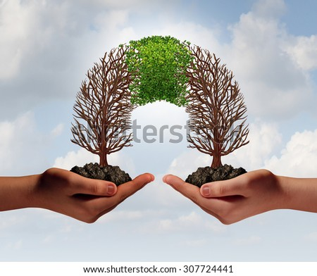 Build a business as a collaborative team with struggling trees connecting with a partner for teamwork financial growth and success as a metaphor for partnership cooperation. - stock photo